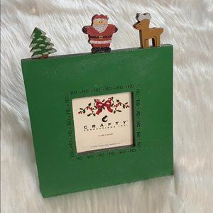 Santa's Workbench Green Wooden Christmas Frame
